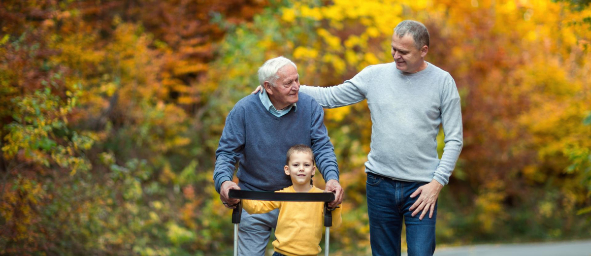 Father, son and grandson enjoying an autumn walk