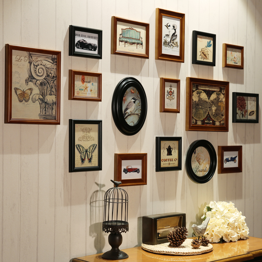 Wall decor and art in vintage frames and style