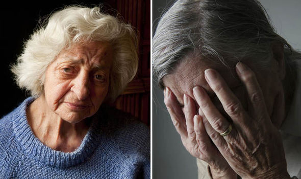 Photo side by side. First photo, older woman wearing a blue sweater is looking very sad and confused. Second photo, older woman covering her face with her hands.