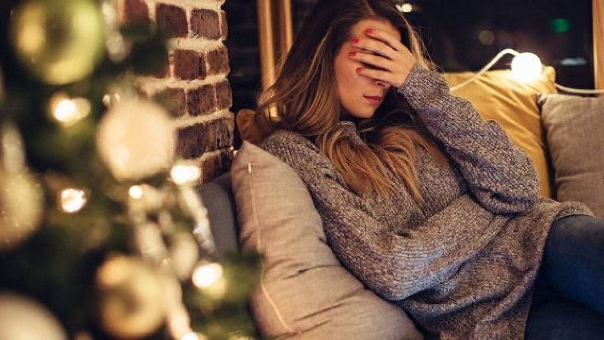 women looking tired and stressed out during Christmas time